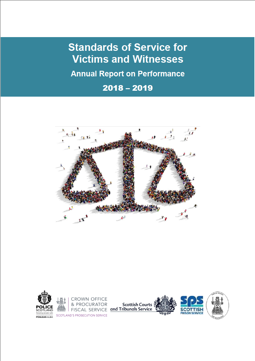 Standards of Service for Victims and Witnesses: Annual Report on Performance 2018 -19 - Cover image